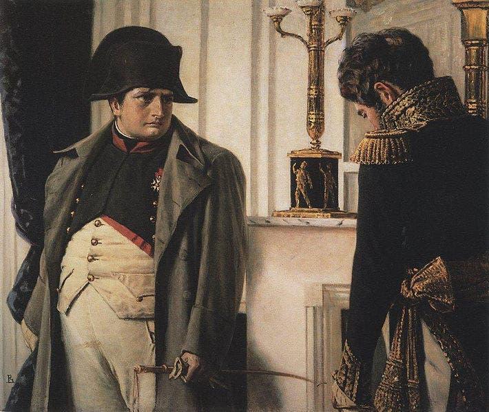 لوحة لنابليون وتبدو ملامح الحزن والقلق بادية على وجهه بسبب خسائره بروسيا