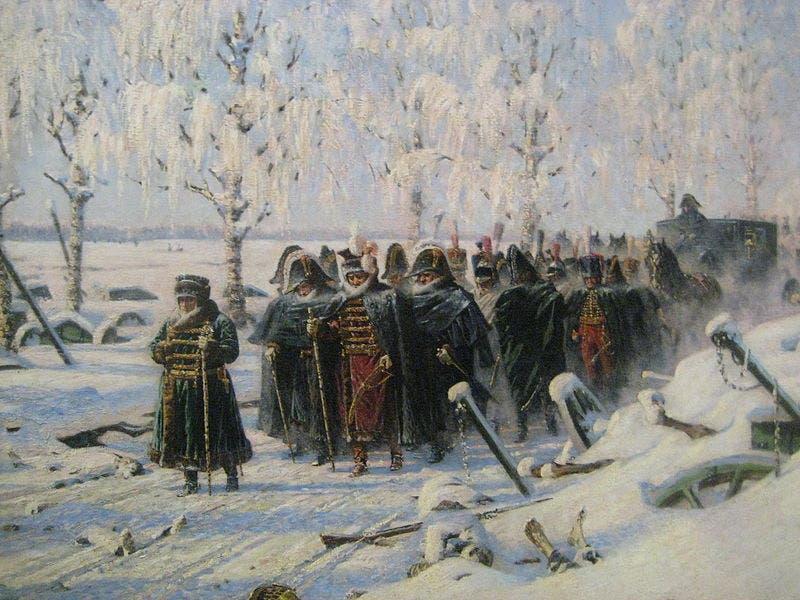 لوحة تجسد انسحاب قوات نابليون من روسيا