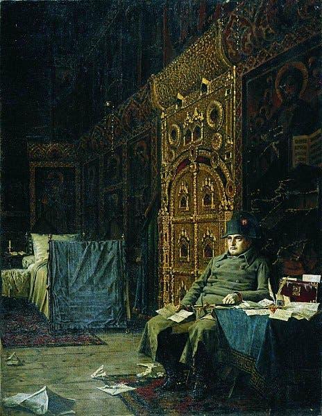 لوحة تجسد نابليون بونابرت وهو شارد الذهن بإحدى الكنائس الروسية