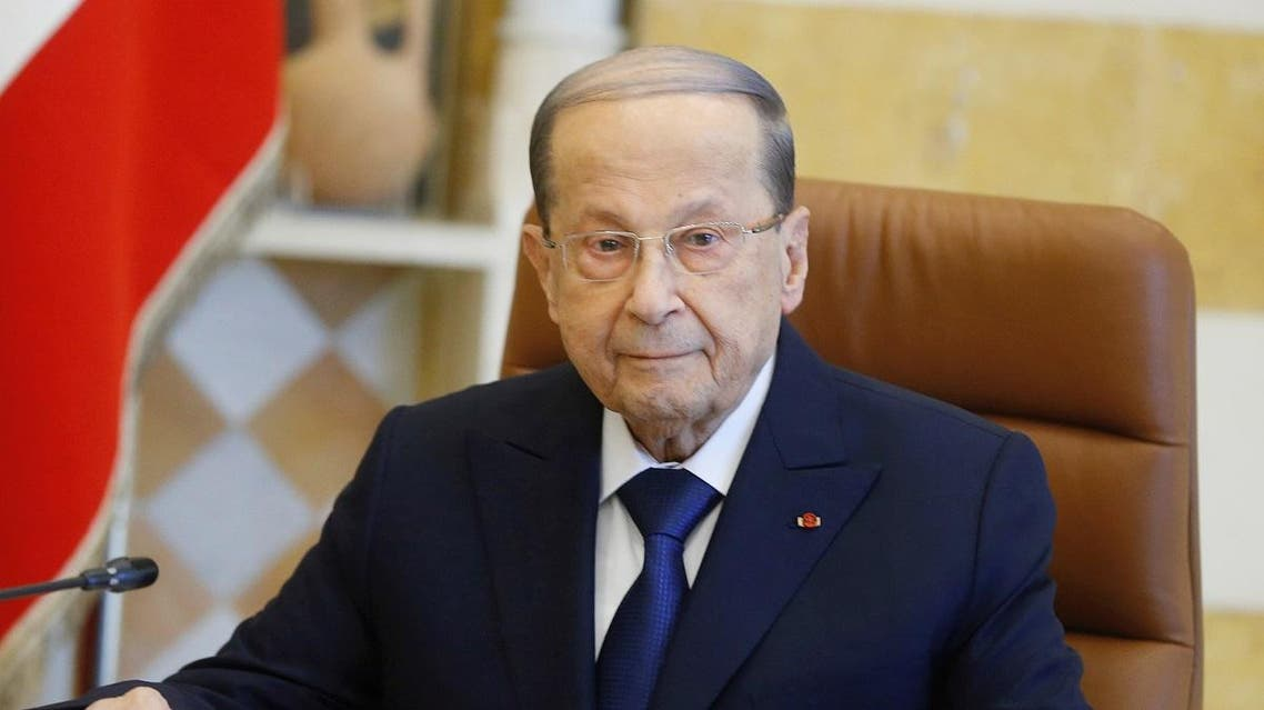 Lebanon's President Michel Aoun attends the cabinet meeting at the presidential palace in Baabda, Lebanon January 22, 2020. (Reuters)