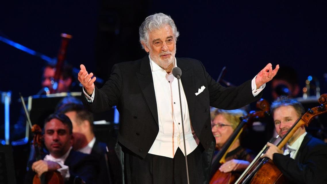 n this file photo taken on August 28, 2019 Spanish tenor Placido Domingo performs during his concert in the newly inaugurated sports and culture centre 'St Gellert Forum' in Szeged, southern Hungary, on August 28, 2019. (AFP)