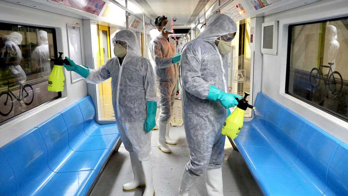 Workers disinfect subway trains against coronavirus in Tehran, Iran, on Feb. 26, 2020. (File photo: AP)