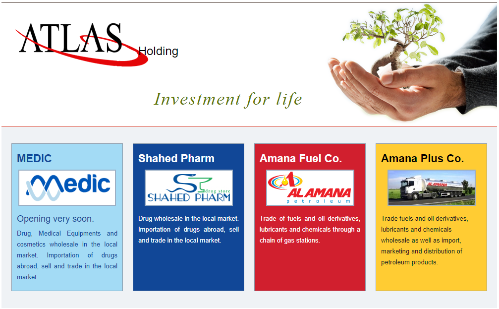 The Atlas Holding company website showing four companies they own or control that were also targeted by new sanctions. (Screengrab.)