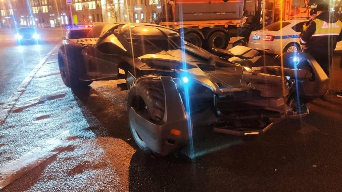 """The """"Batmobile"""" is stopped by traffic police in Moscow in this handout photo released by Interior Ministry of Russia on February 25, 2020. (Reuters)"""