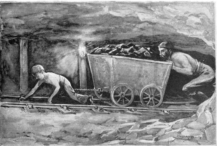 رسم تخيلي لعملية استغلال الأطفال بمناجم الفحم