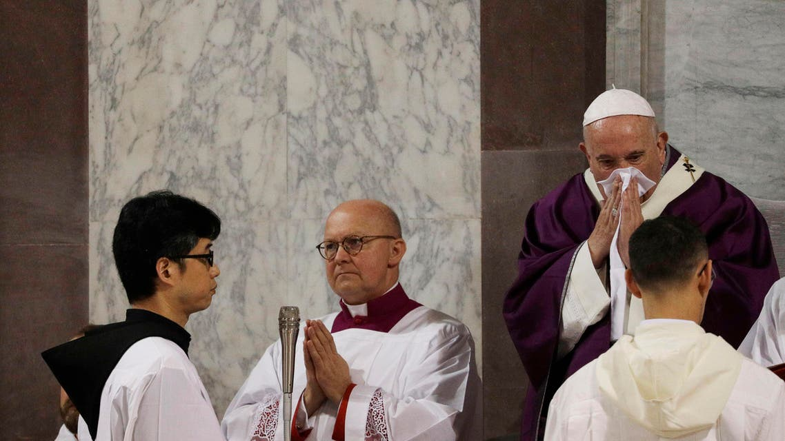 In this Wednesday, Feb. 26, 2020 file photo Pope Francis wipes his nose during the Ash Wednesday Mass opening Lent. (AP)