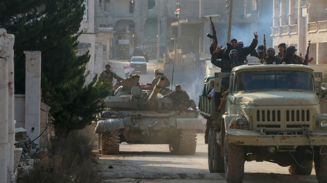 Syrian army soldiers gather in the town of Kafr Hamra in the northern Aleppo countryside on February 17, 2020. In recent weeks, Syrian troops and allied forces backed by Russia have stepped up their offensive against rebel and jihadist groups in Idlib and the neighbouring province of Aleppo. They have already reconquered swathes of Idlib as well as key areas that have secured the crucial M5 highway connecting the country's four largest cities as well as the entire surroundings of Aleppo city for the first time since 2012.