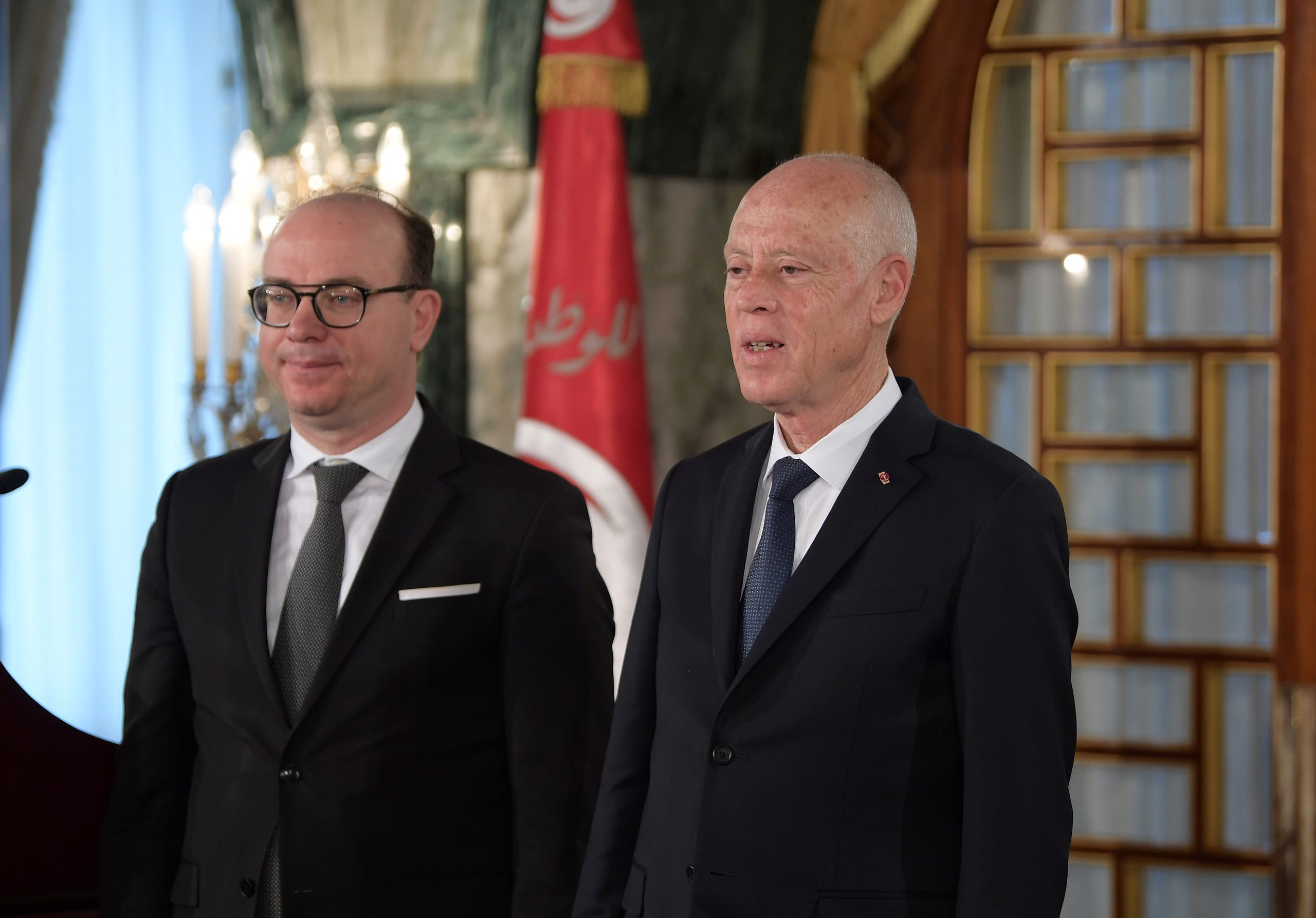 الرئيس التونسي قيس سعيد وإلياس الفخفاخ