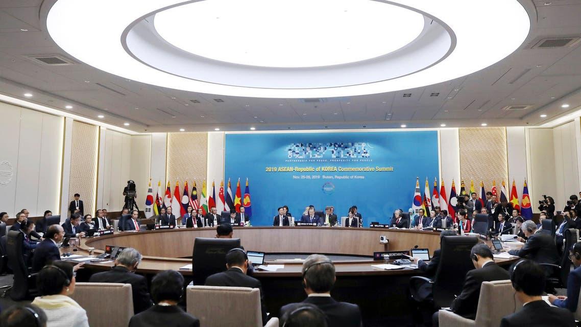 South Korean President Moon Jae-in speaks during the ASEAN Summit in South Korea, Nov. 26, 2019.