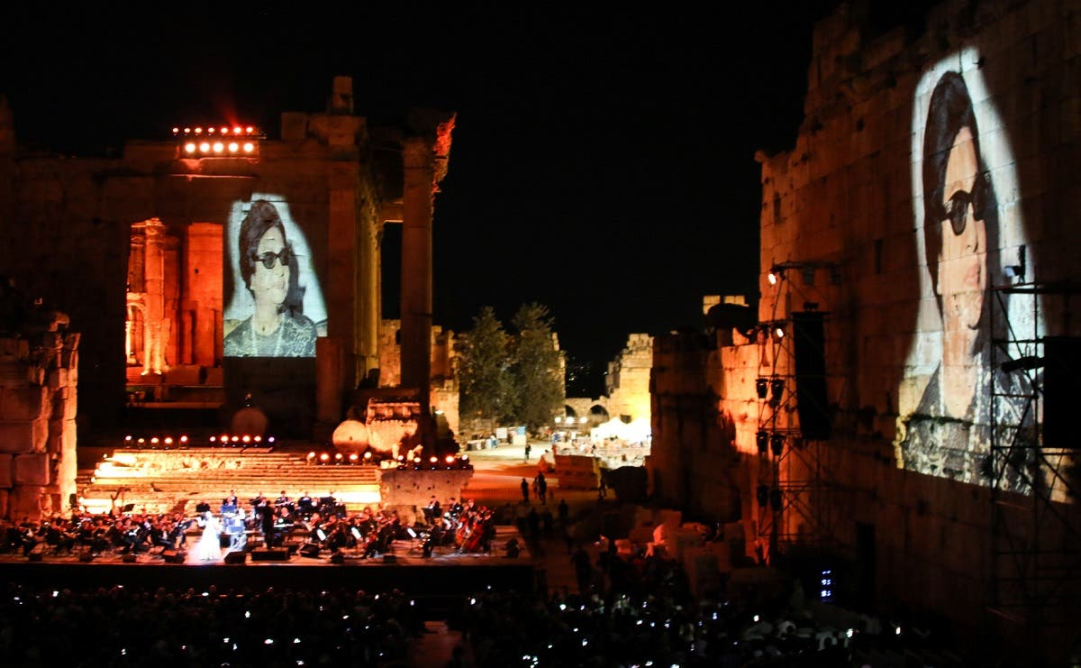 Egyptian diva Umm Kalthoum projected in a special tribute at the opening night of the Baalbek International Festival in Lebanon's eastern Bekaa Valley on July 20, 2018. (File photo: AFP)