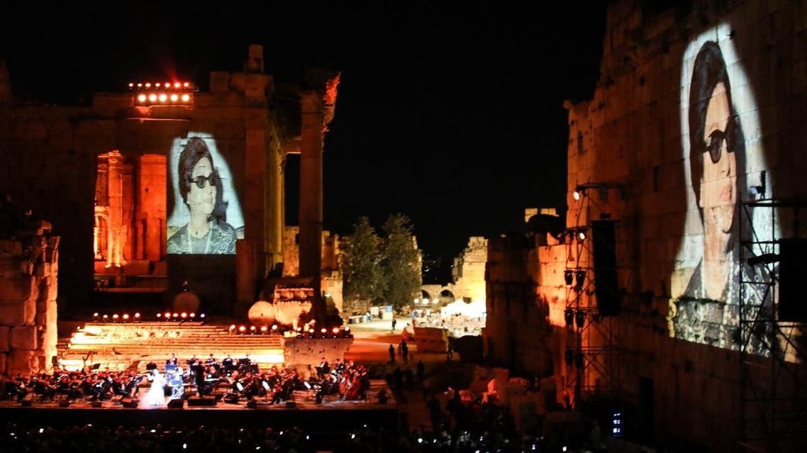 Egyptian diva Umm Kulthum projected in a special tribute at the opening night of the Baalbek International Festival in Lebanon's eastern Bekaa Valley on July 20, 2018. (File photo: AFP)