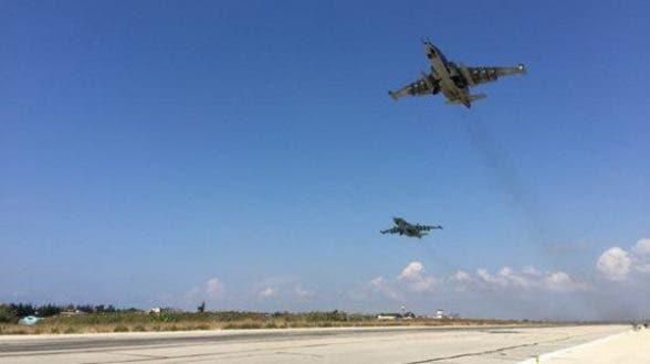 طائرات حربية روسية في قاعدة حميميم في اللاذقية