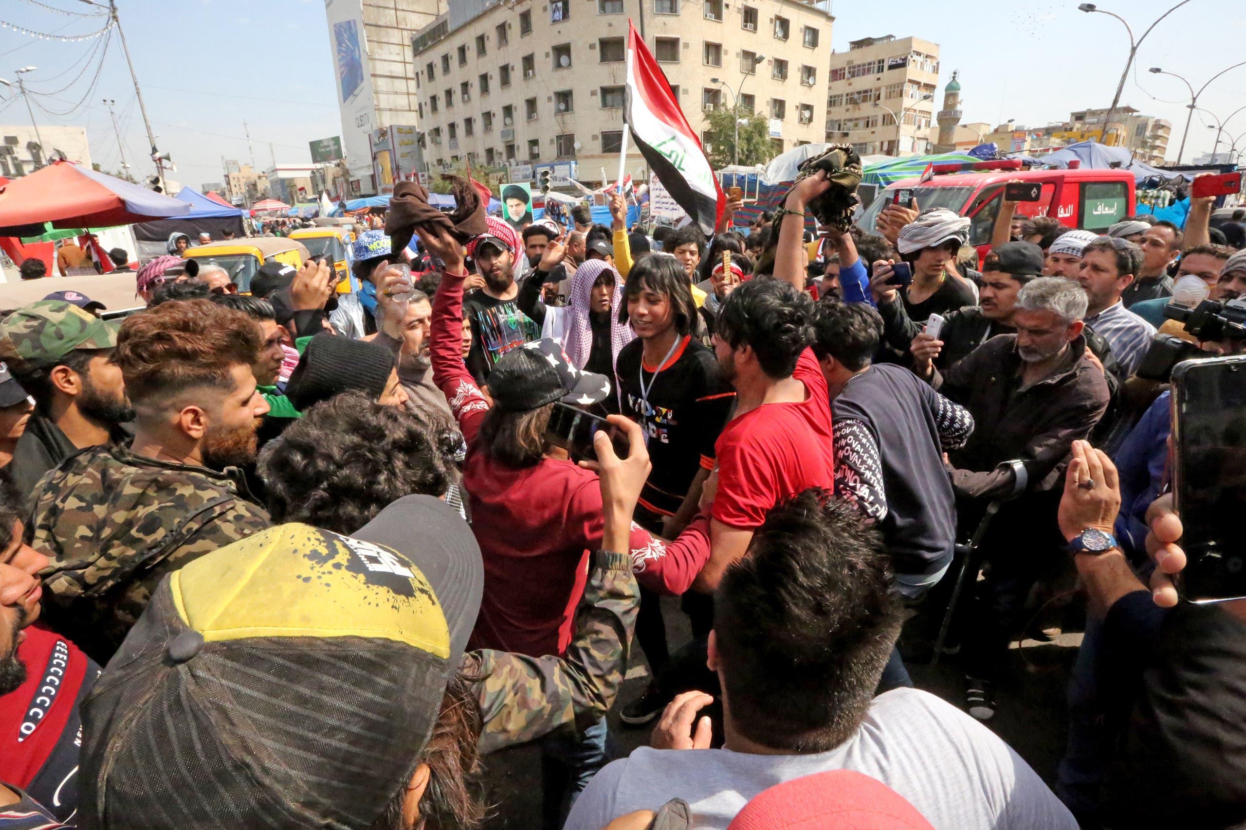 من ساحة التحرير في بغداد (الاول من مارس- فرانس برس)