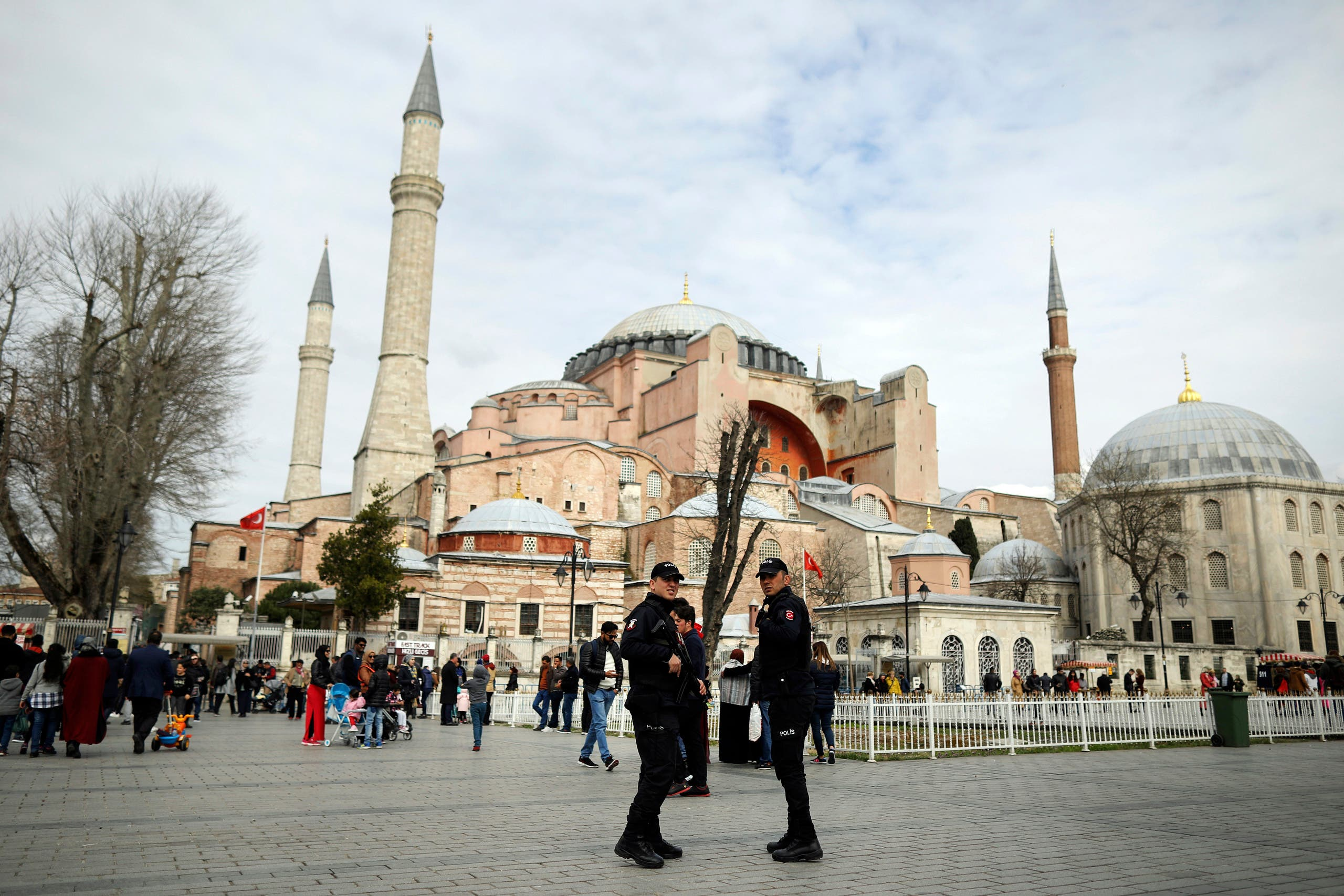Turkish police secure the plaza in front of the Byzantine-era Hagia Sophia, one of Istanbul's main tourist attractions Hagia Sophia in Istanbul, Turkey, Friday, March 15, 2019. (AP)