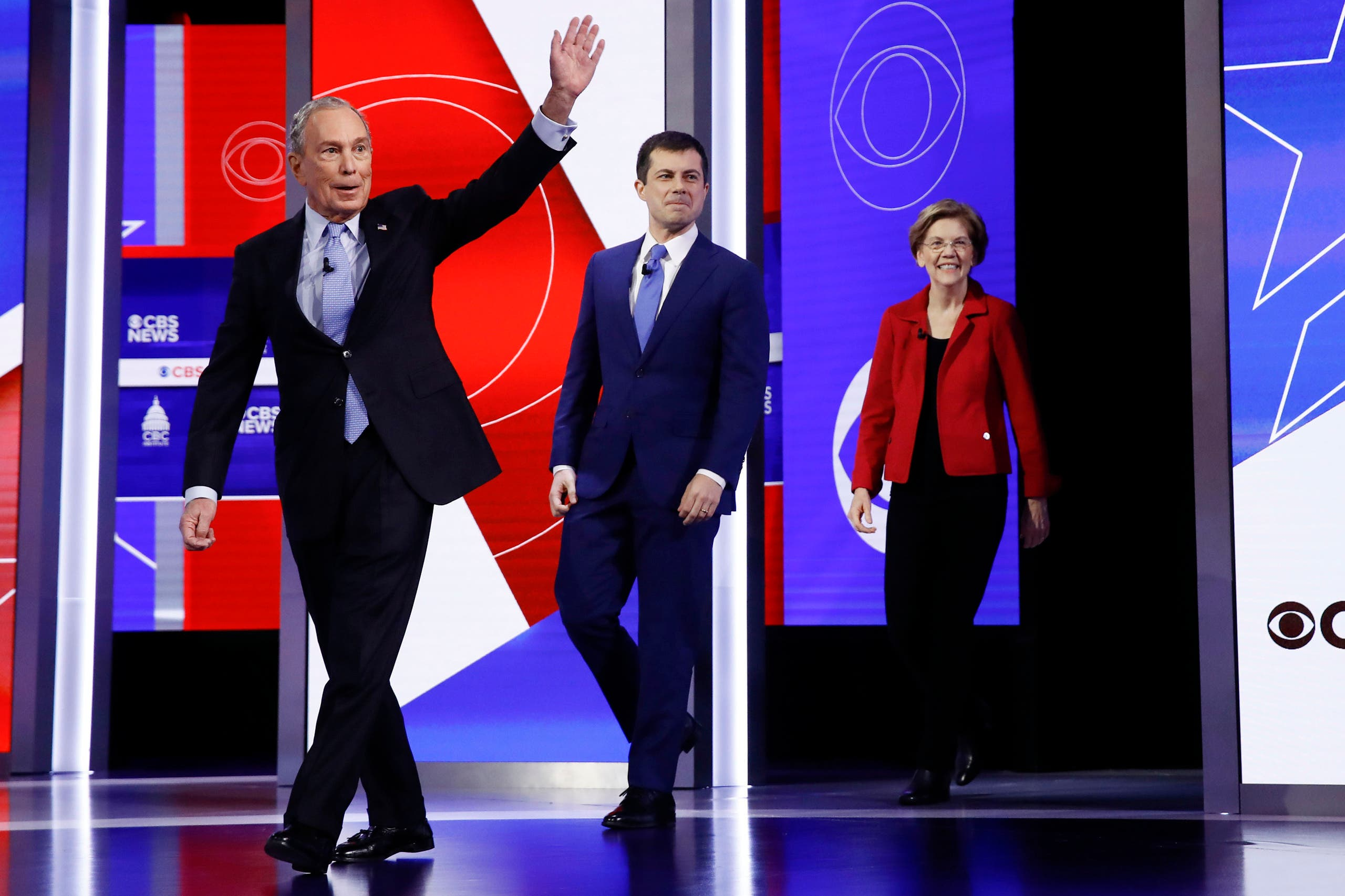 Democratic presidential candidate former New York City Mayor Mike Bloombergwalks onto the stage at the Democratic presidential primary debate on Feb. 25, 2020. (AP)