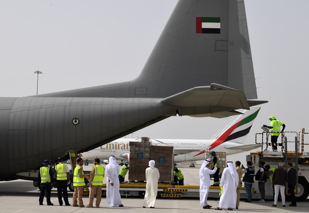 Tonnes of medical equipment and coronavirus testing kits provided bt the World Health Organisation are pictured at the al-Maktum International airport in Dubai on March 2, 2020. (AFP)