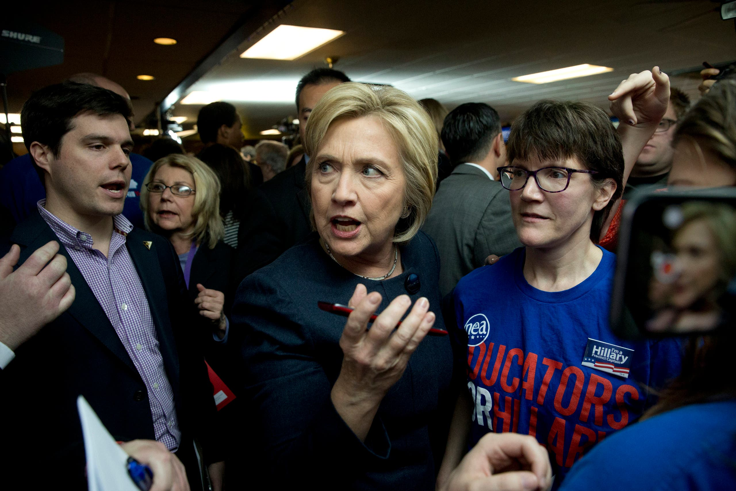 Then-Democratic presidential candidate Hillary Clinton at a campaign event on Jan. 27, 2016 in Adel, Iowa. (AP)