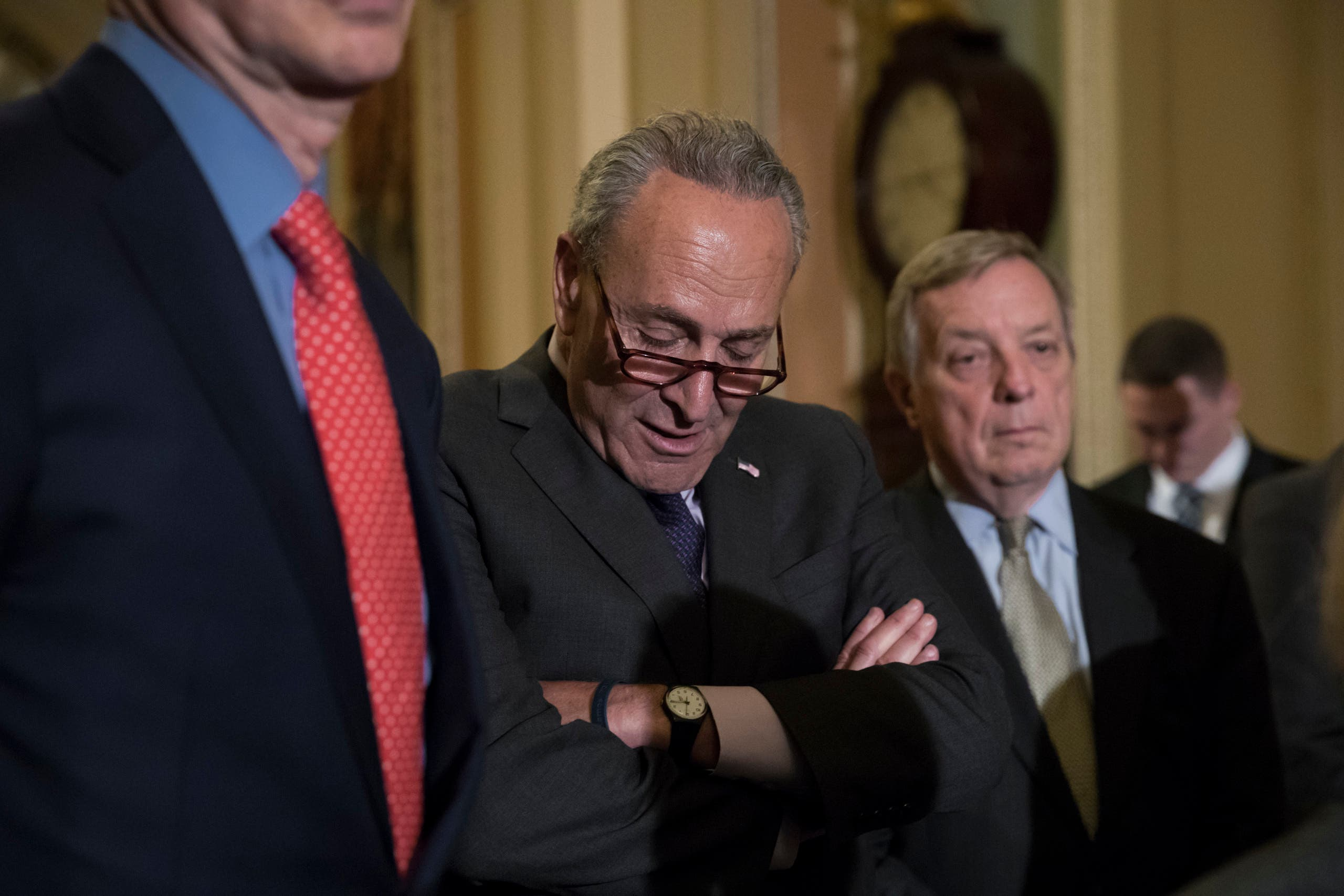 Senate Minority Leader Chuck Schumer pauses as he speaks with reporters on Capitol Hill in Washington on July 25, 2017. (AP)