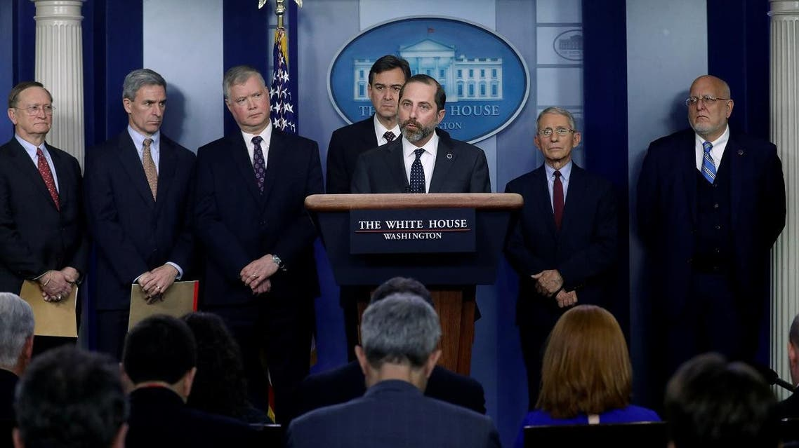 US Secretary of Health and Human Services Secretary Alex Azar with other officials speaking to reporters about efforts in regards to the coronavirus outbreak in China, at the White House in Washington, US, January 31, 2020. (File photo: Reuters)