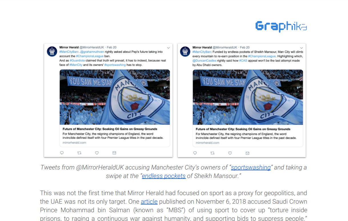 "Tweets from @MirrorHeraldUK accusing Manchester City's owners of ""sportswashing"" and taking a swipe at the ""endless pockets of Sheikh Mansour."""
