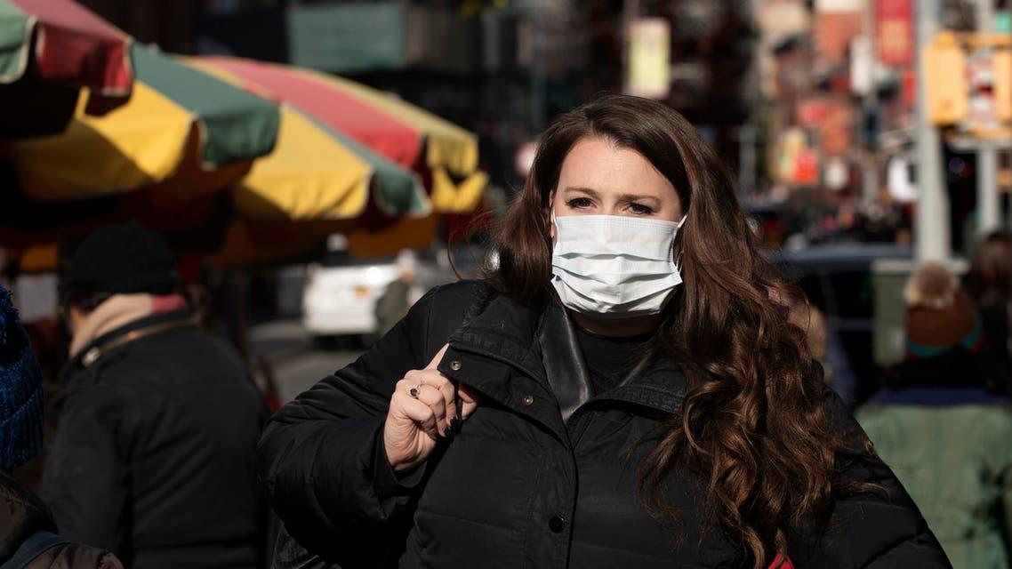 A woman wears a mask on Jan. 30, 2020 in New York. (AP)