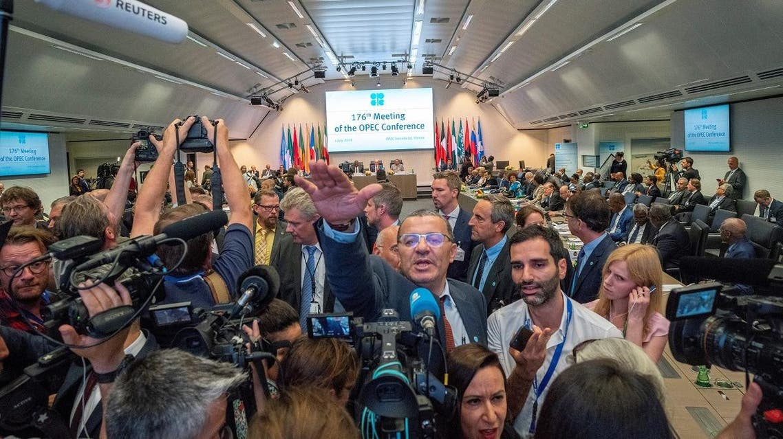 Journalists attend the 176th meeting of the Organization of the Petroleum Exporting Countries (OPEC) conference and the 6th meeting of the OPEC and non-OPEC countries on July 1, 2019 in Vienna, Austria. (File photo: AFP)