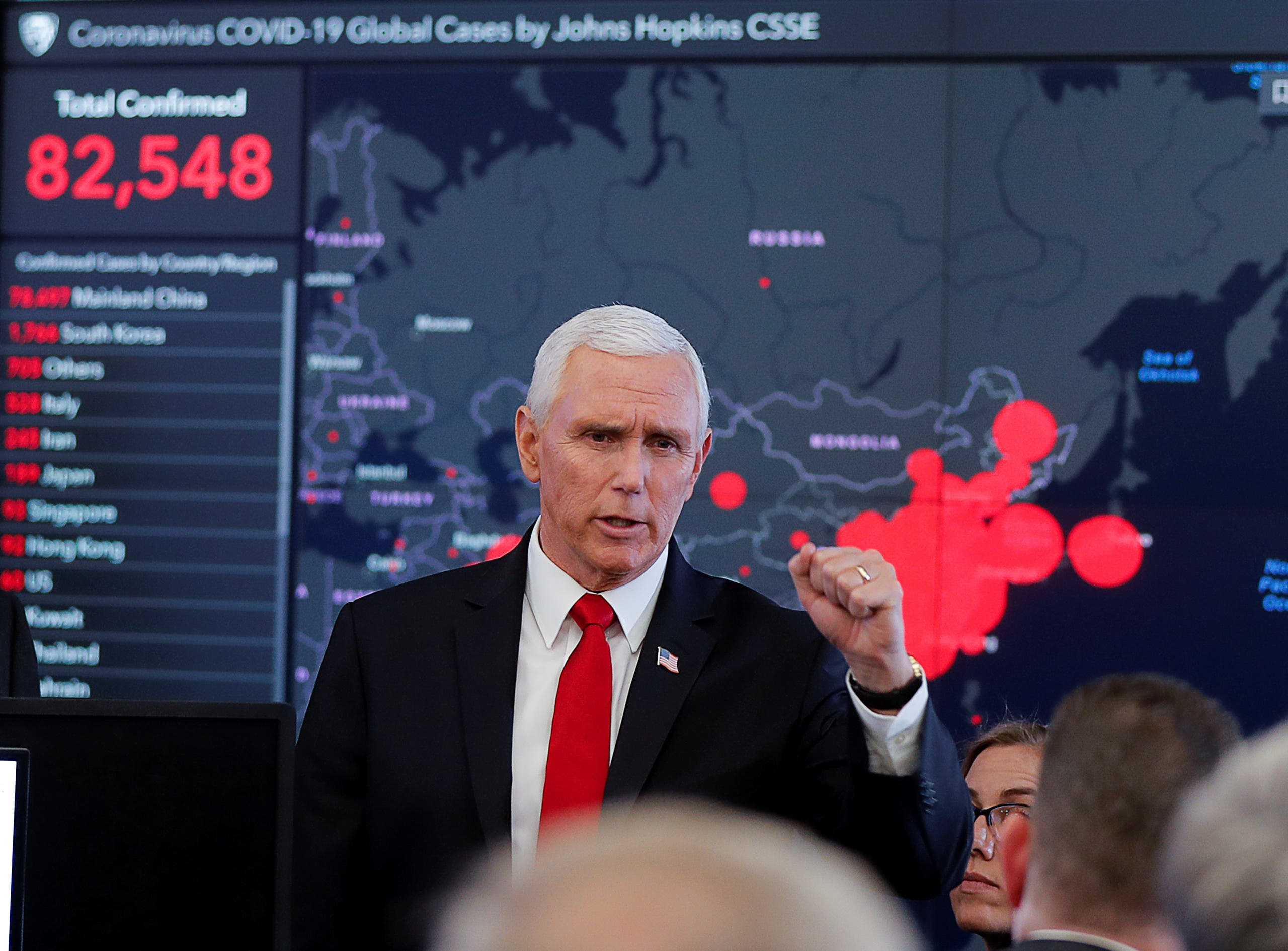 US Vice President Mike Pence speaks during a tour of the secretary's operation center following a coronavirus task force meeting at the Department of Health and Human Services (HHS) in Washington, US, February 27, 2020. (File photo: Reuters)