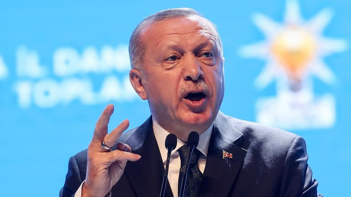 President of Turkey and leader of Justice and Development (AK) Party, Recep Tayyip Erdogan delivers a speech during the AK Party's provincial advisory council meeting in Haci Bayram Veli University in Ankara, Turkey on March 02, 2020. (AFP)