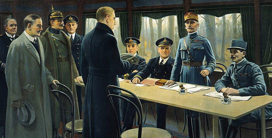 لوحة تجسد عملية التوقيع على معاهدة 1918 التي أنهت الحرب العالمية الأولى