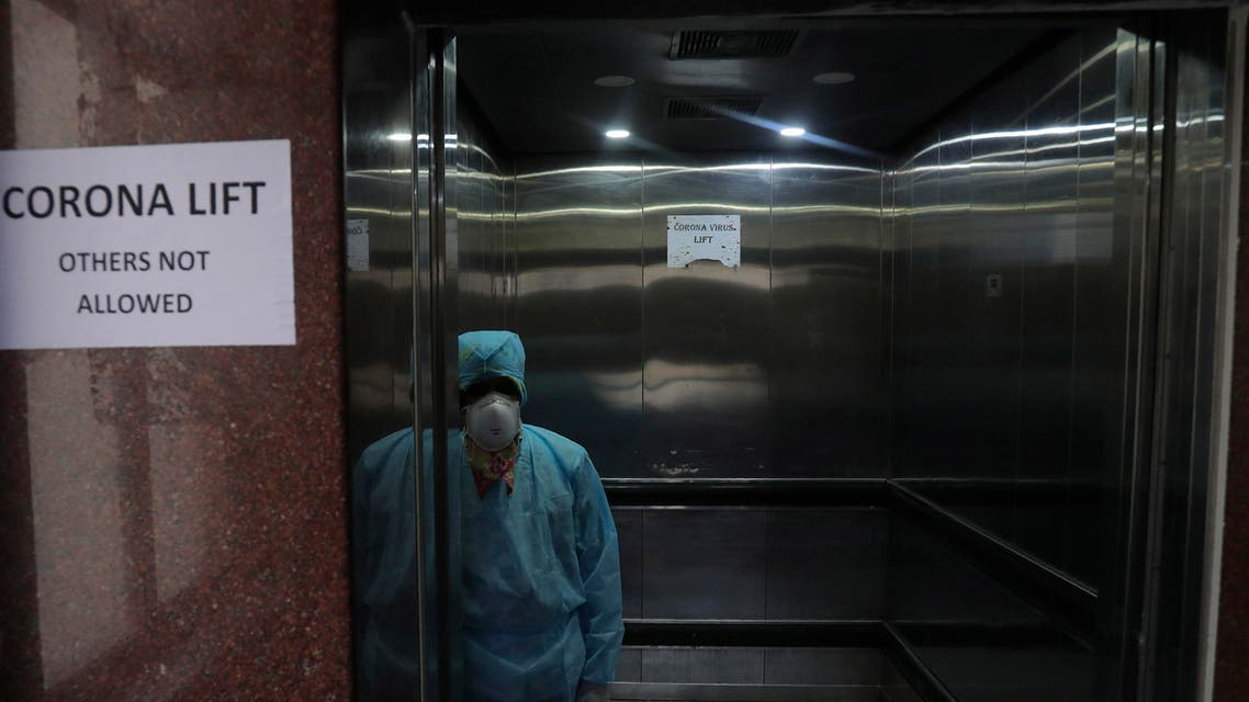 Dedicated lift for people suspected with corona virus in Hyderabad, India, March 2, 2020 (AP)