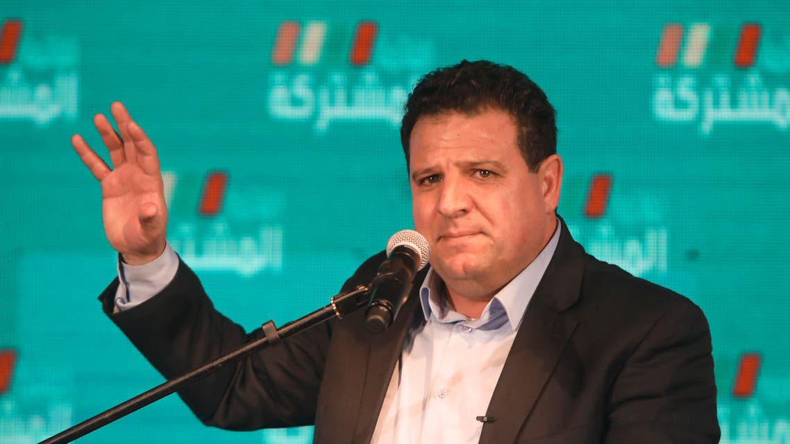 Ayman Odeh, leader of the Joint List, speaks in Shefa-Amr, Israel on March, 2, 2020. (AP)