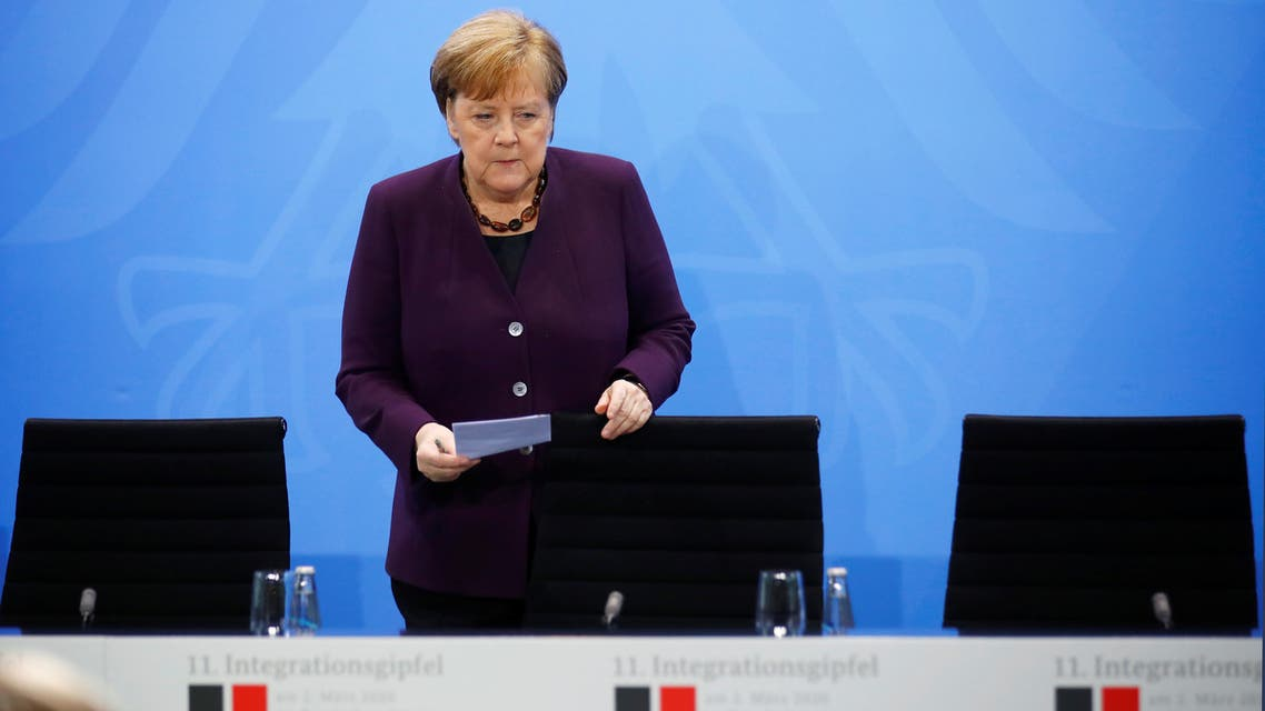German Chancellor Angela Merkel attends a news conference after a migration summit at the Chancellery in Berlin, Germany, March 2, 2020. REUTERS/Hannibal Hanschke