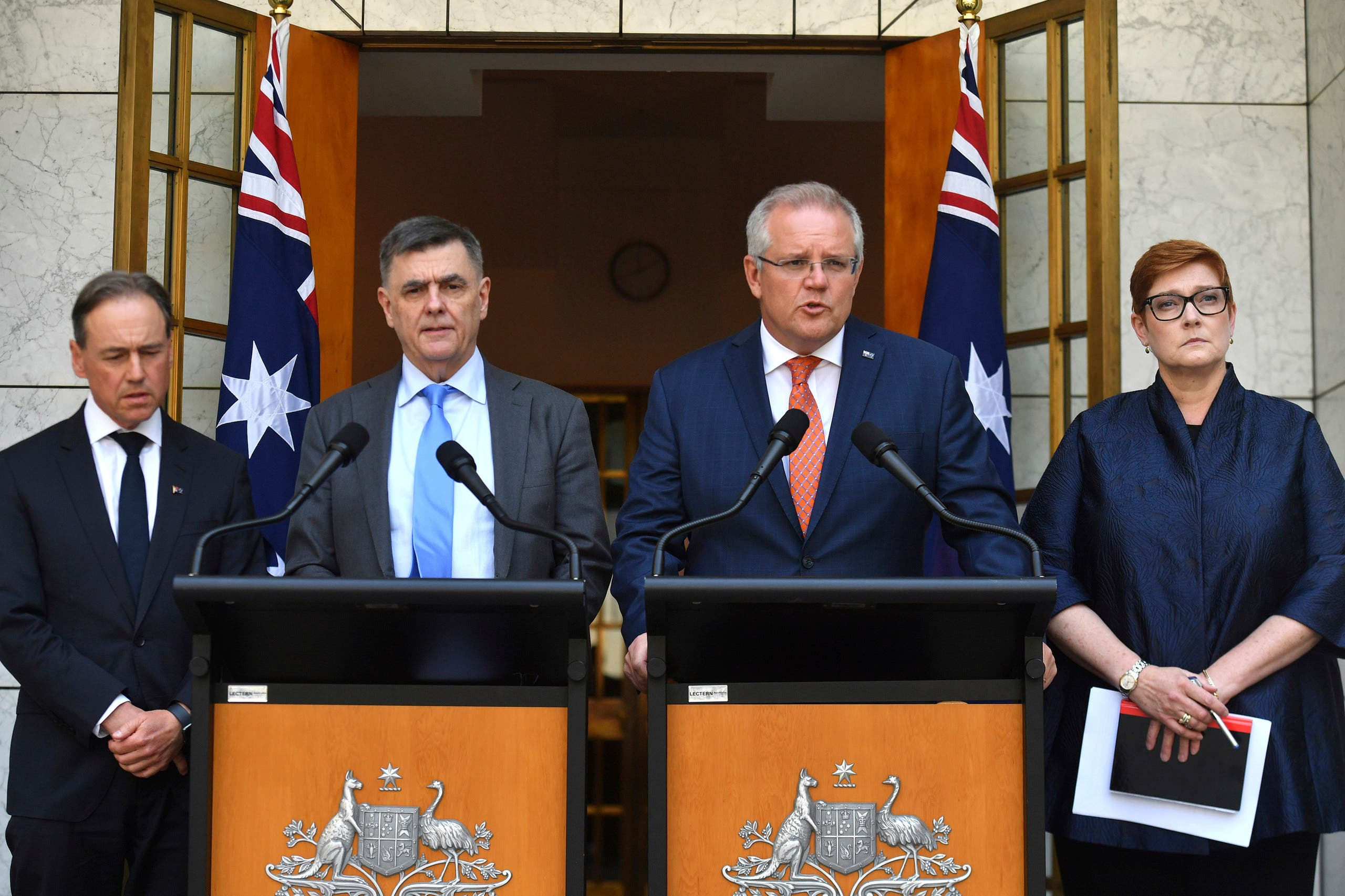 Australian Prime Minister Scott Morrison, second right, Minister for Health Greg Hunt, left, Chief Medical Officer Professor Brendan Murphy, and Minister for Foreign Affairs Marise Payne, January 28, 2020. (AP)