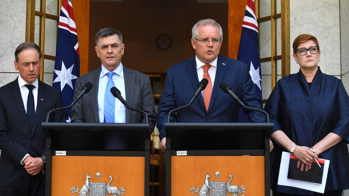 Australian Prime Minister Scott Morrison, second right, Minister for Health Greg Hunt, left, Chief Medical Officer Professor Brendan Murphy, and Minister for Foreign Affairs Marise Payne, January 28, 2020. (AP)
