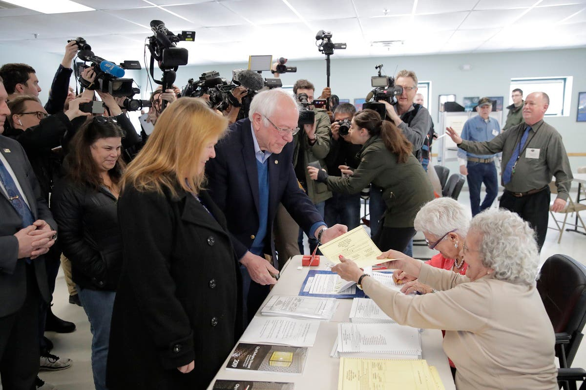 Democratic presidential candidate Sen. Bernie Sanders arrives to vote in the Vermont Primary near his home in Burlington, Vermont, on March 3, 2020. (AP)