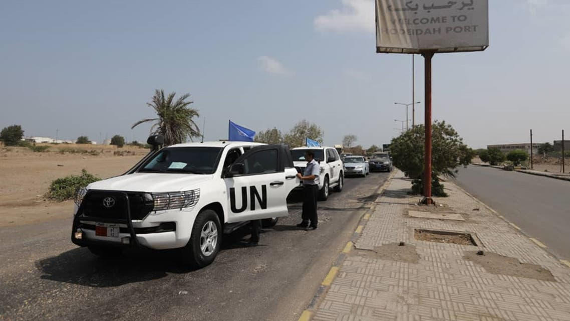 A picture taken on May 11, 2019, in the Red Sea port of Hodeidah shows UN vehicles arriving at the entrance of the Saleef port. A senior pro-government official in Yemen accused Huthi rebels of faking an announced pullout Saturday from three Red Sea ports, as a UN source said monitoring of the much delayed withdrawal in Hodeida province was underway.
