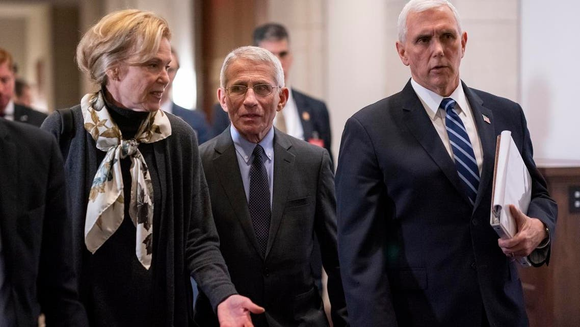 White House coronavirus response coordinator Dr. Deborah Birx (left), and Dr. Anthony Fauci (center), director of the National Institute of Allergy and Infectious Diseases, walk with Vice President Mike Pence (right), as they walk on Capitol Hill in Washington, on March 4, 2020. (AP)