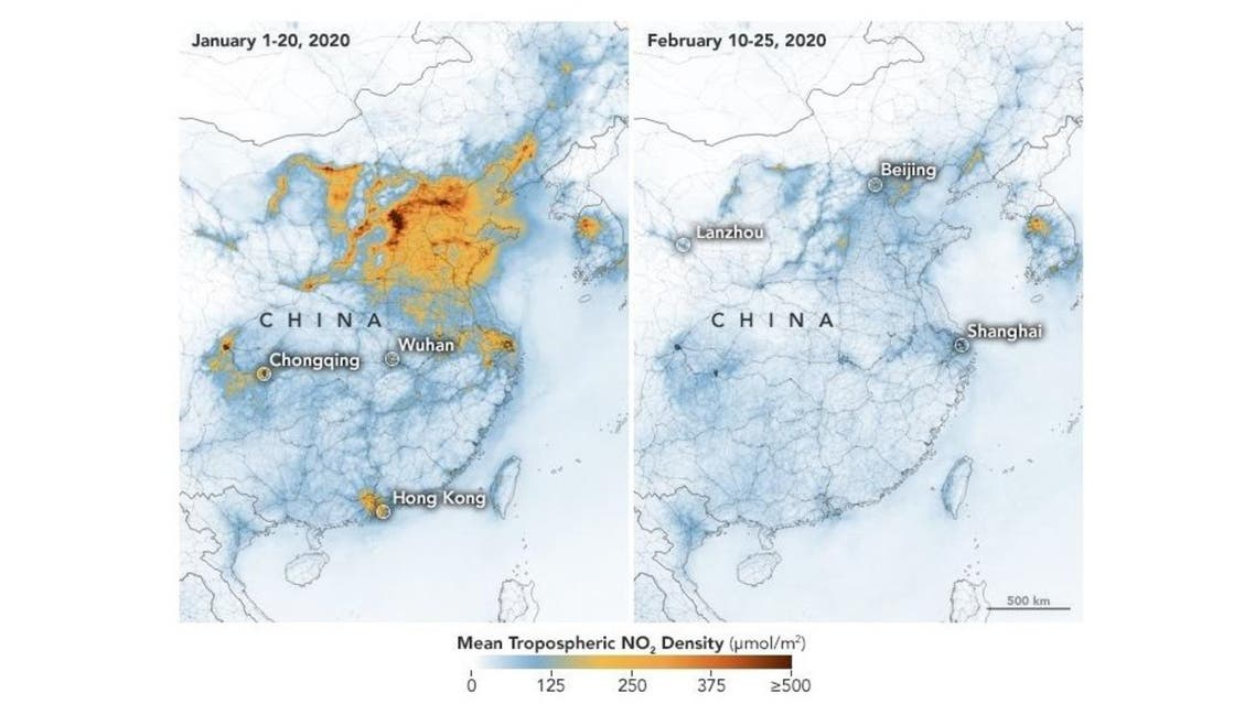 Satellite imagery of nitrogen dioxide levels over China. (NASA Earth Observatory)
