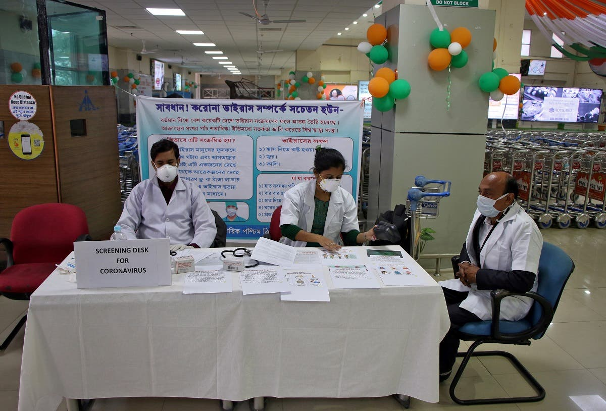 A health desk is set up to screen travelers for signs of the coronavirus at Maharaja Bir Bikram Airport in Agartala. (File photo: Reuters)