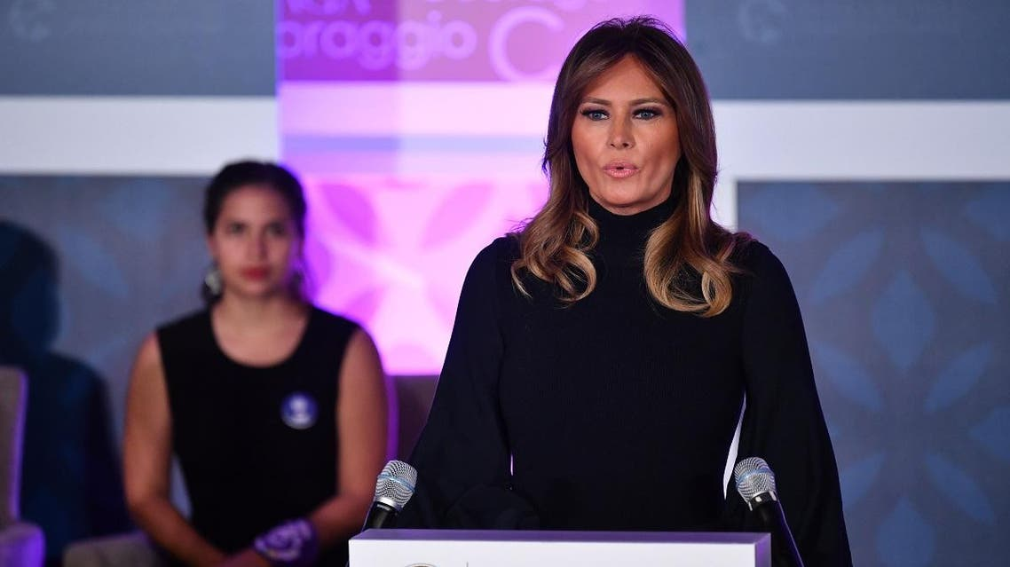 US First Lady Melania Trump speaks during the annual International Women of Courage (IWOC) Awards at the State Department in Washington, DC on March 4, 2020. (AFP)