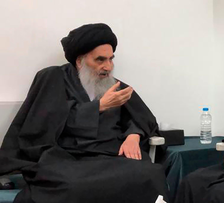Senior Iraqi Shia cleric Ali al-Sistani in the southern Iraqi city of Najaf on March 13, 2019. (AP)