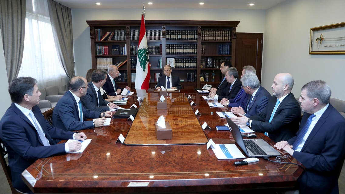 Lebanon's President Michel Aoun heads a financial meeting with Prime Minister Hassan Diab, Parliament Speaker Nabih Berri and Lebanon's Central Bank Governor Riad Salameh at the presidential palace in Baabda, Lebanon, March 7, 2020. (Reuters)