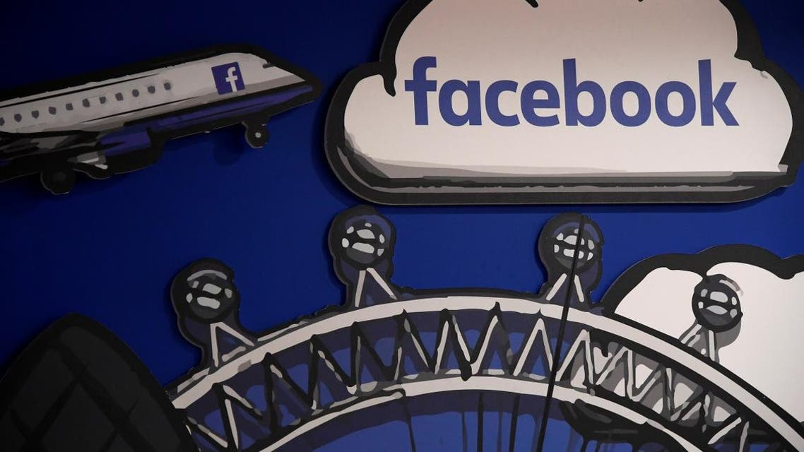 Facebook branding is seen in a workspace at the company's offices in London, Britain, January 20, 2020. (Reuters)