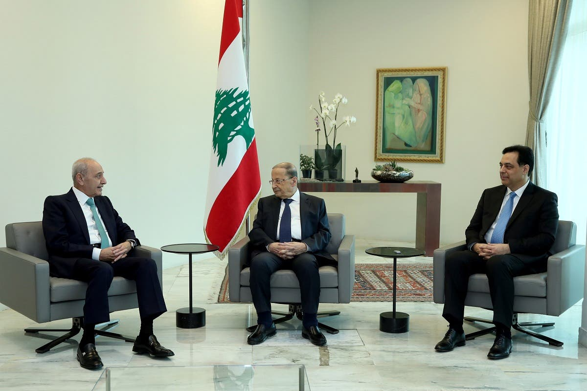 Lebanon's President Michel Aoun meets with Prime Minister Hassan Diab and Parliament Speaker Nabih Berri at the presidential palace in Baabda. (File photo: Reuters)