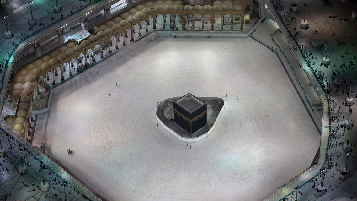 General view of Kaaba at the Grand Mosque, after Saudi authorities suspended Umrah amid the fear of coronavirus outbreak, at Muslim holy city of Mecca, Saudi Arabia, March 5, 2020. (Reuters)