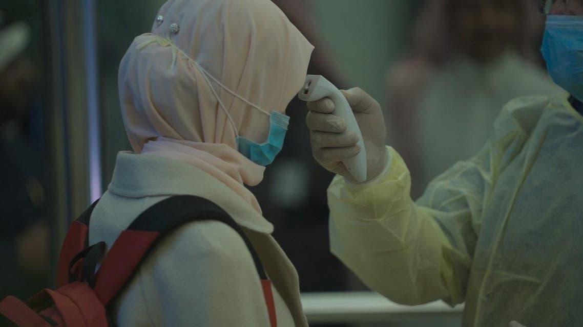 A traveler in Saudi Arabia is screened for coronavirus. (Screengrab)