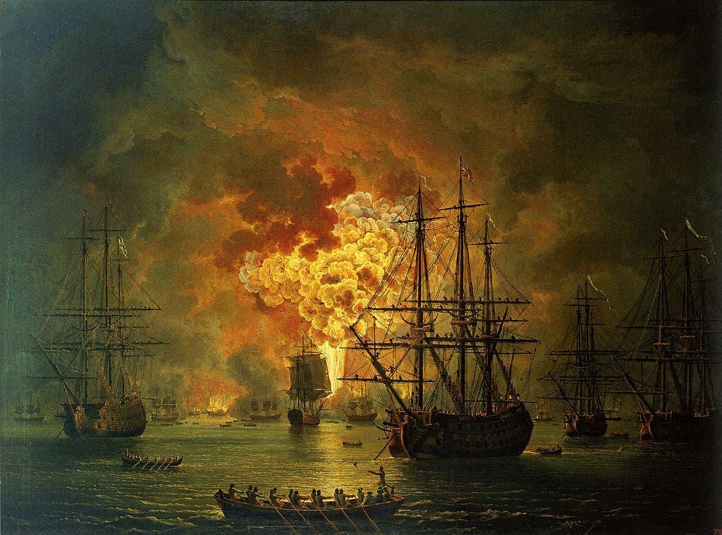 لوحة تجسد خراب البحرية العثمانية بمعركة شيسما عام 1770