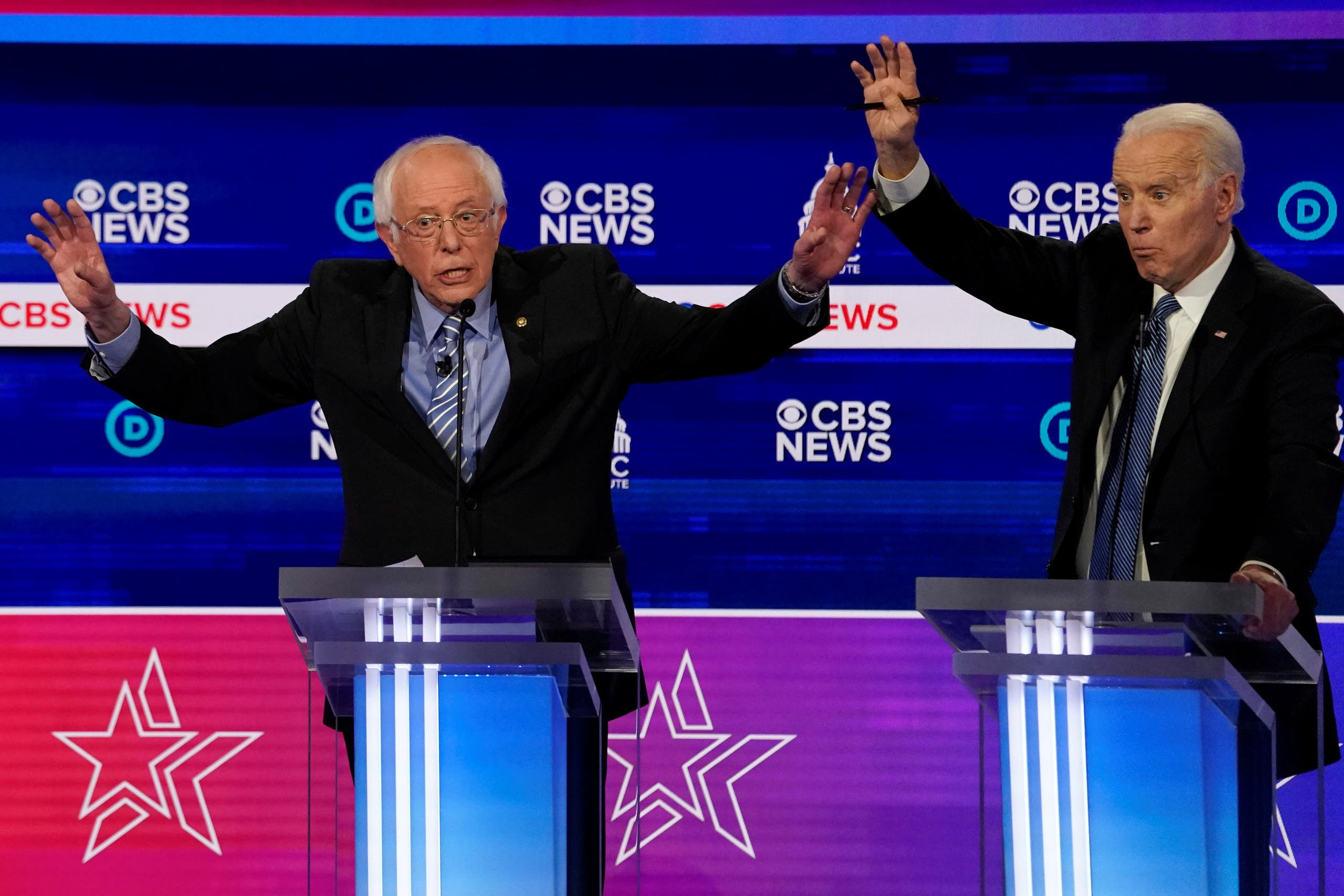 Democratic 2020 US presidential candidates Senator Bernie Sanders and former Vice President Joe Biden at the tenth Democratic 2020 presidential debate, South Carolina, US, February 25, 2020. (Reuters)