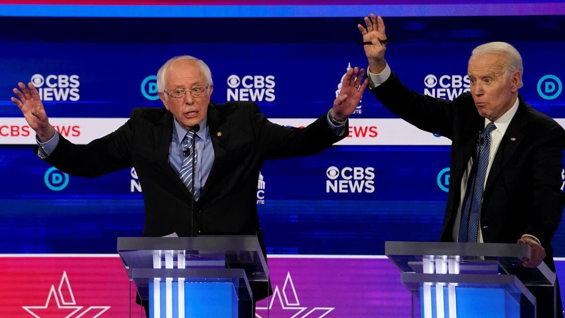 Democratic 2020 US presidential candidates Senator Bernie Sanders and former Vice President Joe Biden at the tenth Democratic 2020 presidential debate, South Carolina, US, February 25, 2020. (Reuters)
