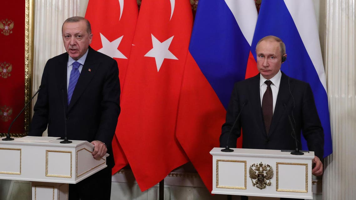 Russian President Vladimir Putin and Turkish President Tayyip Erdogan attend a news conference following their talks in Moscow, Russia March 5, 2020. (Reuters)